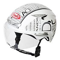 Mũ Bảo Hiểm Andes 1/2 Đầu Có Kính 3S126DB Tem Bóng - W166 Trắng Phối Đen