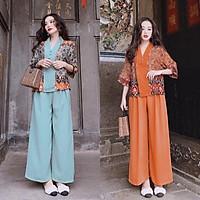 Sét bộ đồ Lam đi chùa áo phối họa tiết quần dài ống rộng Cao Cấp