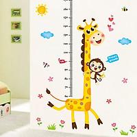 Decal dán tường thước đo chiều cao cho bé hươu cao cổ khỉ con ngộ nghĩnh