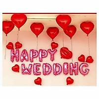 Set bóng Happy Wedding kèm bóng trái tim trang trí phòng cưới phòng tân hôn
