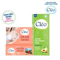 Combo Kem Giảm thâm nách chiết xuất lá lộc đề Cleo 35g và Lotion Tẩy lông dạng sữa chiết xuất bơ Cleo 90ml dành cho tay chân