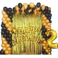 Combo Bóng trang trí sinh nhật Happy Birthday tặng 2 rèm  Kim Tuyến và  50 Bóng Nhũ