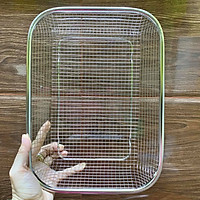 Rổ inox dày không gỉ 29x21 cm ( size Trung )