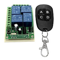 4 CH Wireless RF Remote Control Switch, 433mhz Transmitter with Receiver for Lamp, Smart Switches,(A/B/C/D Button), DC 12v