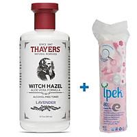 Nước Hoa Hồng Không Cồn Thayers Witch Hazel Lavender (Oải Hương) 355ml (Dành cho da dầu, da có mụn) + Tặng Túi Bông Tẩy Trang Ipek 80 Miếng