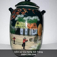 Hũ đựng 10kg gạo gốm sứ Gia Hưng Bát Tràng