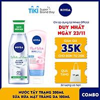 Combo Sữa rửa mặt NIVEA Pearl White giúp trắng da (100g) - 81295 & Nước Tẩy Trang NIVEA White Oil Clear Kiểm Soát Nhờn Micellar Water (200ml) - 86609