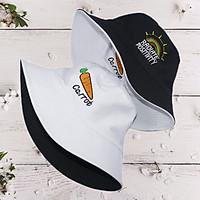 Mũ bucket thêu hình Carrot và Cầu Vồng đẹp mắt, đội được 2 mặt với 2 màu khác nhau, dành cho nam và nữ đội đi chơi, đi học, đi làm