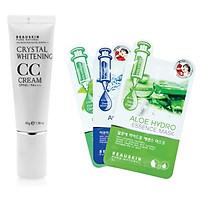Bộ sản phẩm 1 kem che khuyết điểm CC Cream Hàn quốc ( 45g) + 3 mặt nạ beauskin hàn quốc ( hương ngẫu nhiên)