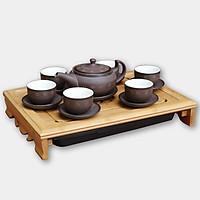 Bộ ấm chén tử sa lùn bẹt ganh sao gốm sứ Bát Tràng (bộ bình uống trà, bình trà)