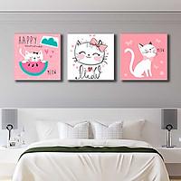 Bộ 3 tranh canvas trang trí phòng trẻ em Mèo con dễ thương - TTE009
