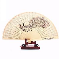 Quạt trúc cầm tay quạt phong cách cổ trang Trung Quốc in hoa trang trí quạt cổ trang mẫu con công tặng ảnh thiết kế Vcone