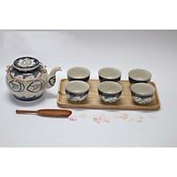 Ấm trà, chén và khay đựng