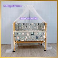 Giường Cũi - Nôi Cũi Cho Bé Từ Sơ Sinh Đến 3-4 Tuổi - Chất Liệu Gỗ Thông Tự Nhiên - Combo 6 Sản Phẩm Kích thước 70 x 110 x 96cm ( R x D x C )
