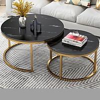 Bộ 2 bàn trà hình tròn  chân mạ vàng - bàn trà phòng khách ( Giao màu ngẫu nhiên)