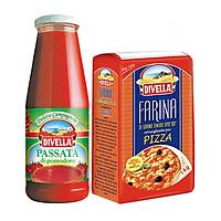 Combo Bột Trộn Sẵn Chuyên Làm Pizza Farina 1000gr và Sốt Cà Chua Xay Dạng Sệt Passata Di Pomodoro Divella 680gr