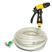 Bộ dây và vòi xịt tăng áp lực nước 300% rửa xe tưới cây 319498 (dây trắng)