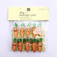 Bộ 10 kẹp ảnh gỗ hình củ cà rốt (kèm dây)