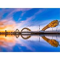 Tranh ghép hình 1000 mảnh 2cm khổ 54×74 – Tranh xếp hình Puzzle cao cấp Cầu Rồng Đà Nẵng – Dragon Bridge