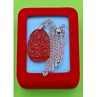 Vòng cổ phật Thiên Thủ Thiên Nhãn - thạch anh đỏ 3.6cm DITTOB8 - dây inox bạc - kèm hộp nhung - tuổi Tý