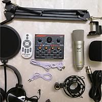 Bộ live stream hát karaoke  Sound Card V9 Bluetooth và Mic ISK AT-100 đầy đủ phụ kiện hàng nhập khẩu