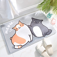 Thảm Chùi Chân Siêu Thấm Nước, Chống Trượt Tốt Hình 2 Con Mèo