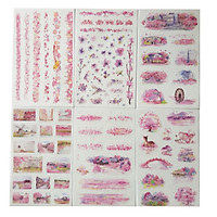 Bộ sticker 6 tấm giấy washi họa tiết Nhật