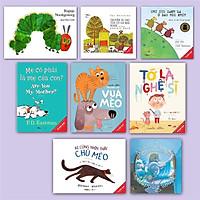 Sách Combo Ehon song ngữ Chú cừu xanh lá+Chú sâu háu ăn+Ai cũng nhìn thấy chú mèo+Chuyến đi dạo của cô gà mái+Mẹ(8 cuốn)