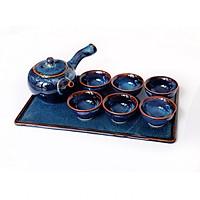 Bộ ấm trà tay dài xanh sóng biển