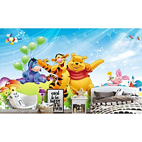Tranh dán tường 3D gấu Pooh 5 TB52