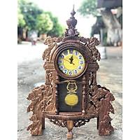 Đồng hồ để bàn gỗ Mun đuôi công hàng siêu đẹp