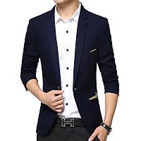 Áo Khoác Vest Nam Vải Kaki Dày Mịn Đứng Form Màu Xanh Đen - TC04039