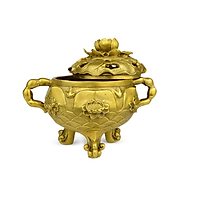 Lư trầm sen đại bằng đồng thau nặng 1kg cao 16cm - Dùng để xông trầm hương