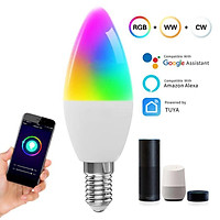 Wifi APP Control RGBCW Color Changing Light Bulb 300LM E14 Multi-Color Dimmable Lamp for Alexa Tmall Genie
