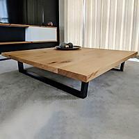 Bàn sofa gỗ tự nhiên chắc chắn, chống nước, chống ẩm mốc, chân sắt cứng cáp, dạng thanh ngang vững chãi