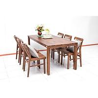 Bộ bàn ăn 6 ghế Nội Thất Nhà Bên NAN 01 (Nâu)