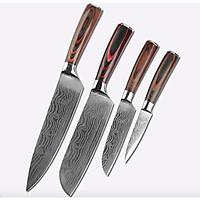Bộ 4 dao Damascus - dụng cụ không thể thiếu cho đầu bếp chuyên nghiệp