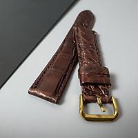 [Da thật] Dây đồng hồ da cá sấu khóa bướm AL110 (Coffee) Size 20/ Size 22 - 100% da cá sấu thật, BH 3 năm