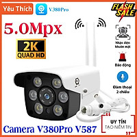 Camera Wifi Ngoài Trời V380 Pro V587 5.0Mpx , Đàm Thoại Hai Chiều, Camera mini Xem Đêm Có Màu