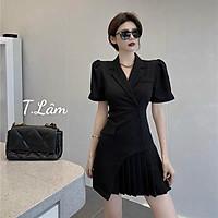 Đầm Vest Xếp Ly Cổ V Cực Sang - Váy Dự Tiệc Phong Cách Thời Trang Hàn Quốc N.U Store - Betro đen và Trắng Đầm Thiết kế .