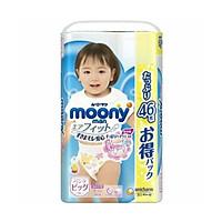 Bỉm - Tã quần Moony Blue Jumbo size XL bé gái 46 miếng (Cho bé 12~22kg)