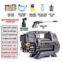 Máy rửa xe mini gia đình công suất mạnh 2800W có thể chỉnh áp, bộ máy xịt tưới cây dễ dàng sử dụng, ống bơm nước 15m, vòi bơm áp lực cao