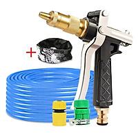 Bộ dây vòi xịt nước rửa xe, tưới cây đa năng, tăng áp 3 lần, loại 7m, 10m 206236 đầu đồng,cút,nối vàng+ tặng khăn phượt