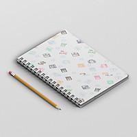 Sổ tay bullet journal kẻ caro bìa cứng 180 trang A5 hình dễ thương PA003
