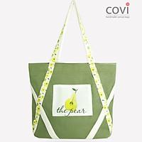 Túi tote vải canvas phom ngang phối hoa lá thời trang COVI nhiều màu sắc T7