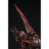 Tượng gỗ mỹ nghệ- Chim trĩ hoa mai- gỗ trắc đỏ đen