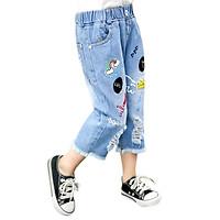 Baby Jeans Newborn Girls Cartoon Print Ripped Short Pants Baby Denim Shorts Stretch Trousers Kids Casual Children Clothing