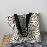 Túi vải tote đeo vai phong cách Âu Mỹ kiểu dáng đơn giản size to, sức chứa lớn tiện lợi đi học đi làm đi chơi