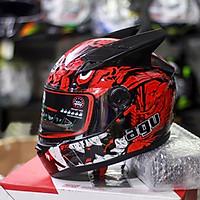 Nón Fullface AGU Tem 38 Đỏ Đen Kèm Sừng Batman Sẵn keo siêu chất dành cho phượt thủ_ Mũ bảo hiểm có kính