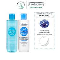 Bộ chăm sóc da Evoluderm Tẩy trang mắt môi 250ml và Sữa tẩy trang 250ml